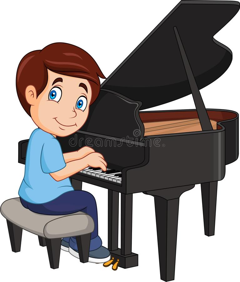 Cartoon little boy playing piano royalty free illustration