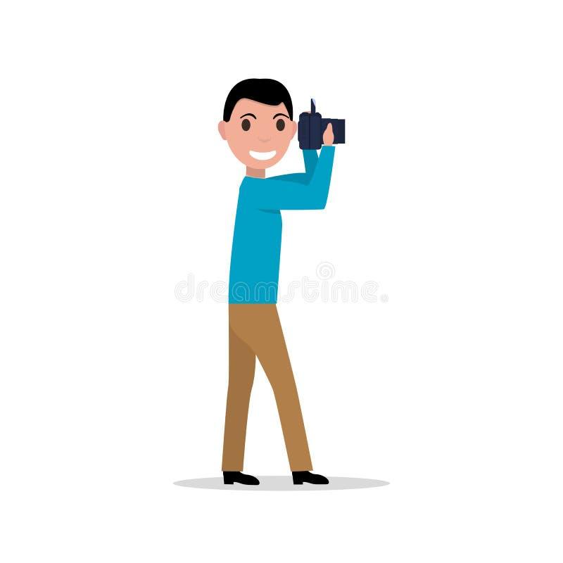 Vector illustration cartoon man with photo camera vector illustration