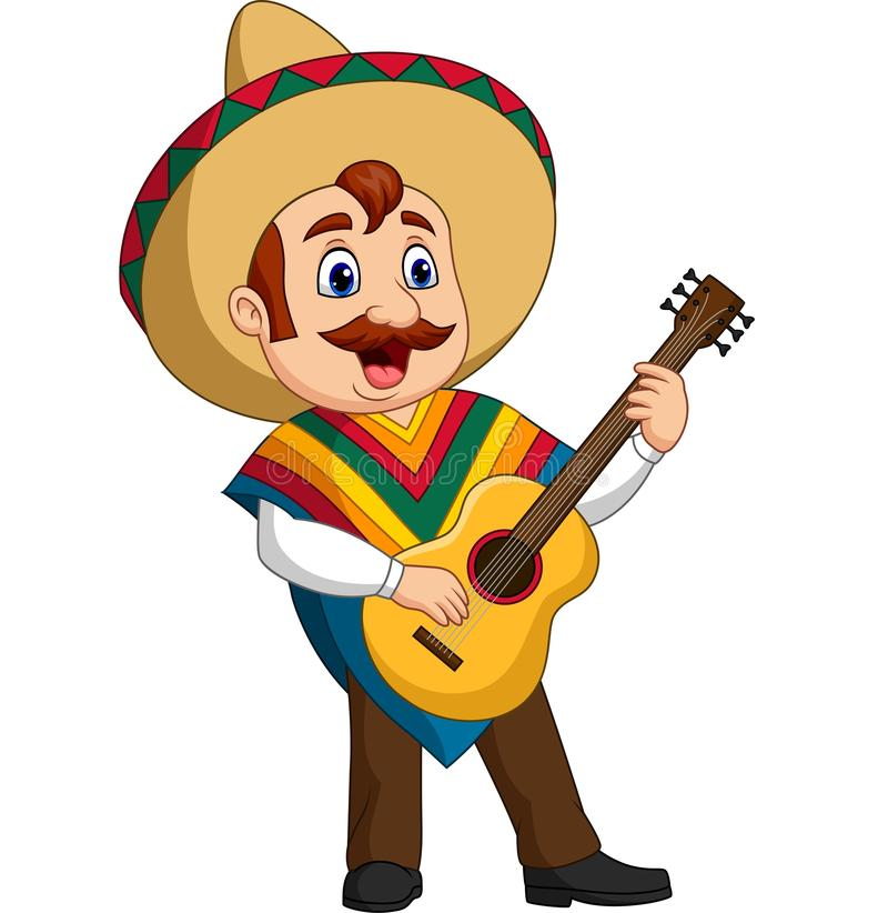 Cartoon of Mexican man playing the guitar and singing stock illustration
