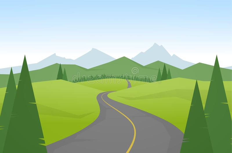 Vector illustration: Cartoon mountains landscape with road. Vector illustration Cartoon mountains landscape with road vector illustration
