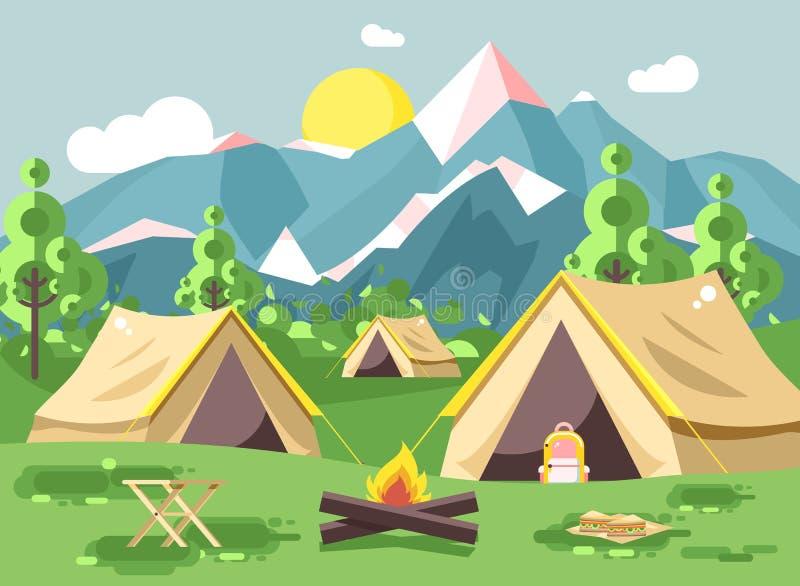 Vector illustration cartoon nature national park landscape three tents with backpack, bonfire, open fire snack. Stock vector illustration cartoon nature national vector illustration