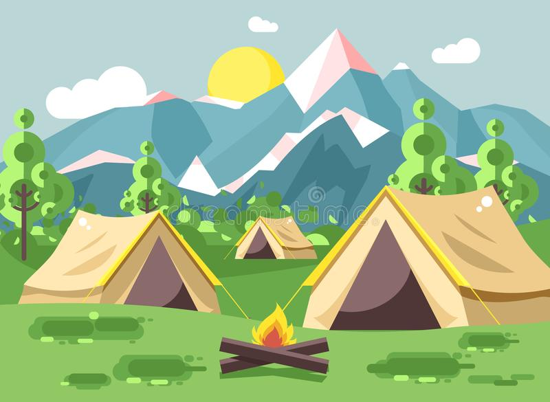Vector illustration cartoon nature national park landscape with three tents camping hiking bonfire, open fire, bushes. Stock vector illustration cartoon nature royalty free illustration