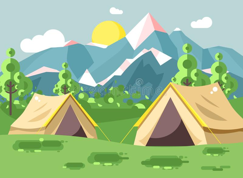 Vector illustration cartoon nature national park landscape with two tents camping hiking rules of survival bushes, lawn. Stock vector illustration cartoon nature stock illustration