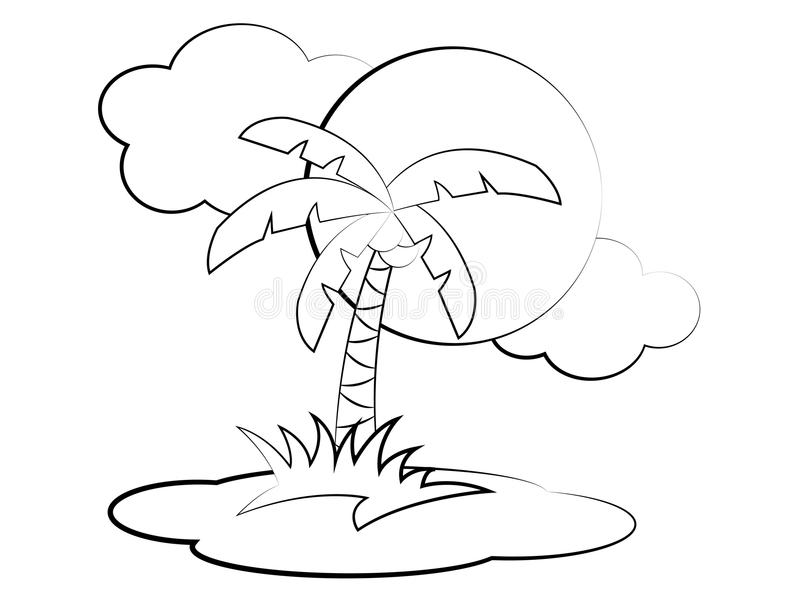 Vector Cartoon Palm Tree Coloring Page Stock Vector - Illustration ...