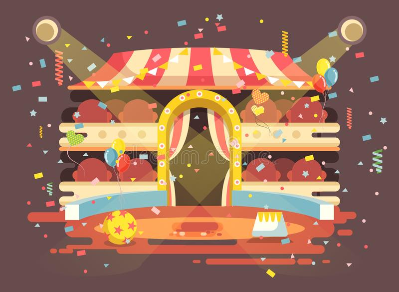 Vector illustration cartoon performance interior empty circus background, show on arena, perform with confetti in flat royalty free illustration