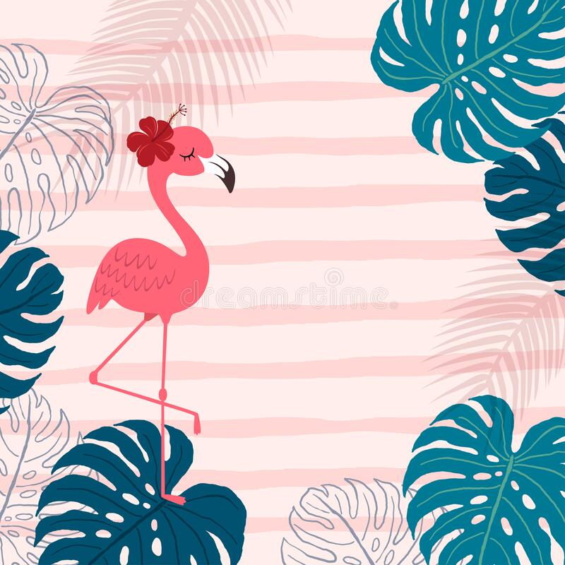 vector illustration cartoon pink flamingo monstera leaves pink background hello summer background vector illustration 186456902