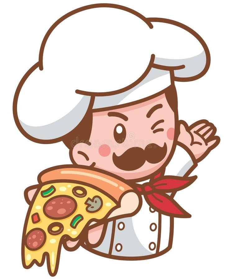 Pizza chef. Vector illustration of Cartoon Pizza chef stock illustration