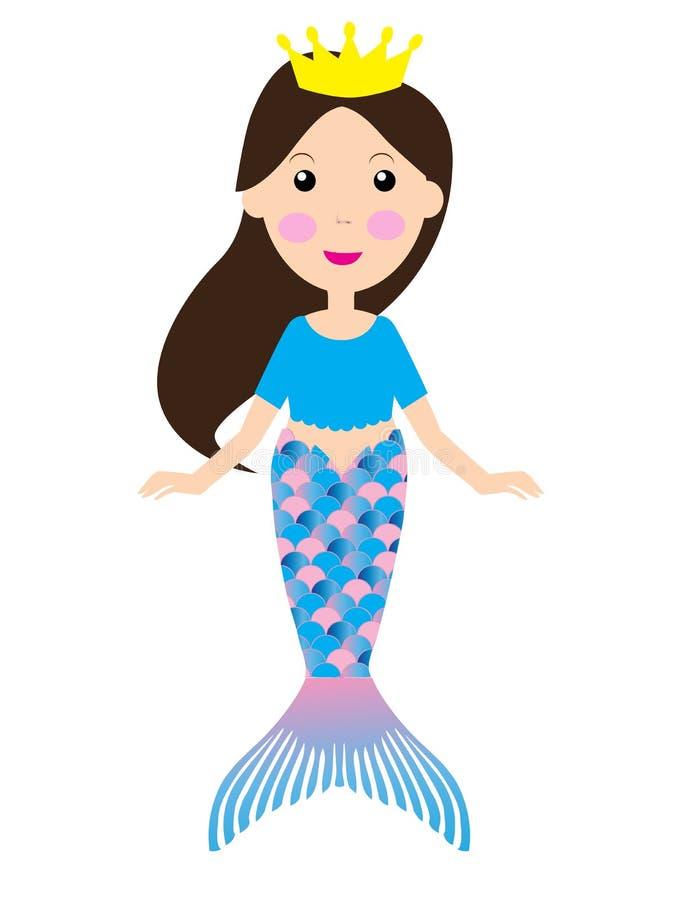 Vector Cartoon Mermaid Funny Cartoon Character. Vector illustration of a cartoon pretty mermaid. funny cartoon character vector illustration