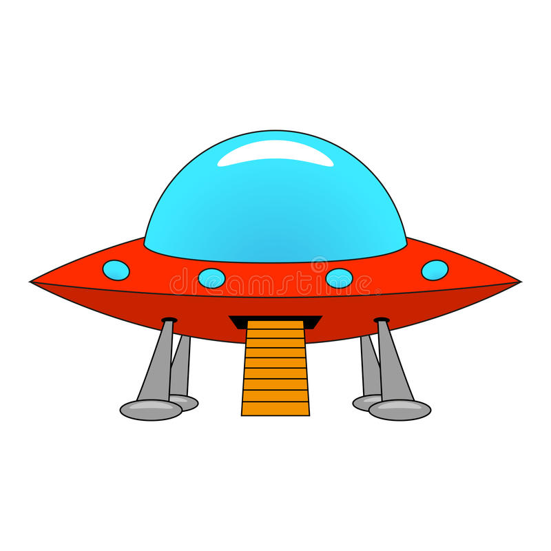 Vector illustration of a cartoon ship UFO. On white background stock illustration