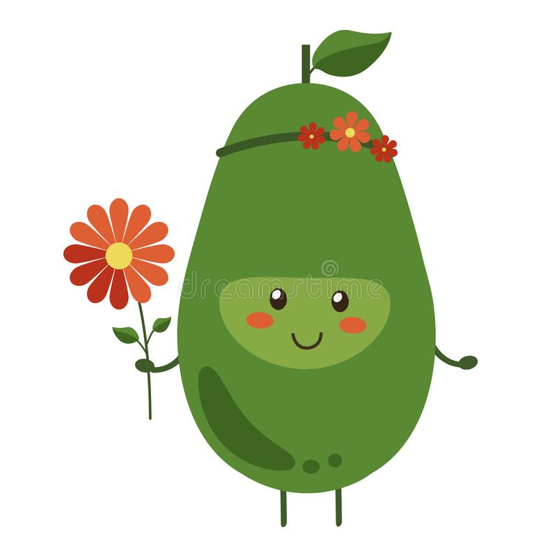 Vector illustration. Cartoon smiling avocado hero with bright red flowers isolated on white background. Positive fruit vector illustration