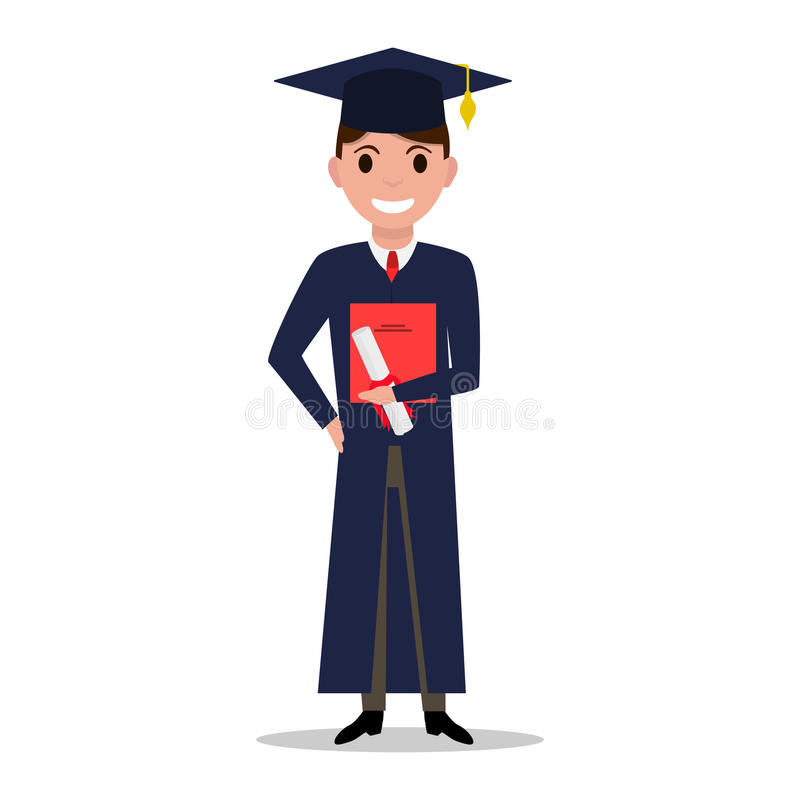 Vector illustration cartoon student boy graduate. Isolated white background. Male character with square academic cap and diploma in hands. Man received a vector illustration