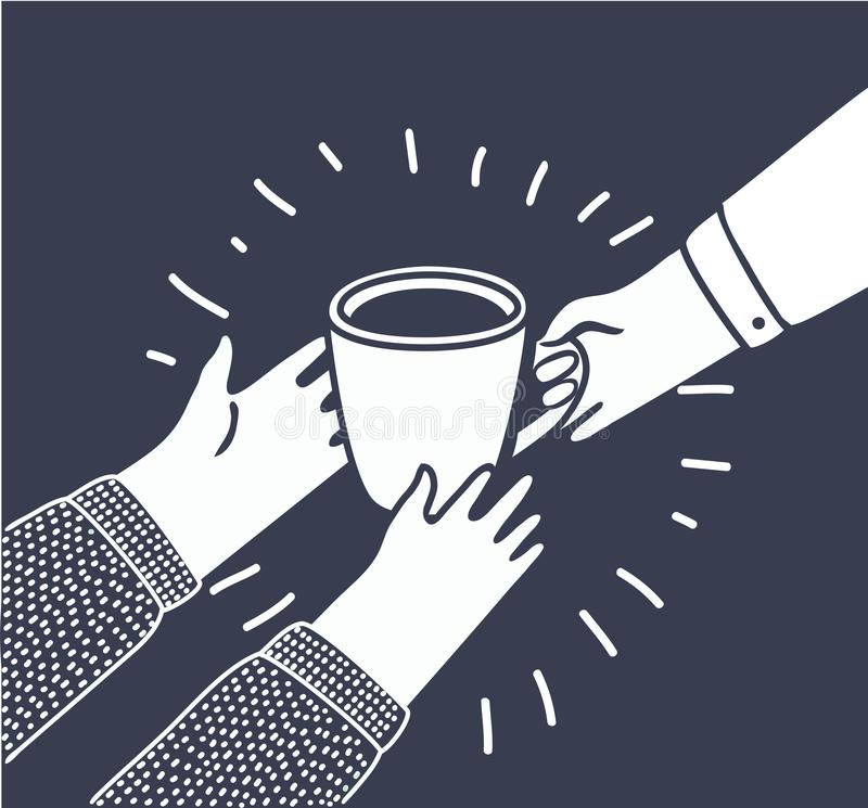 Vector illustration in cartoon style with persons gives another a Cup of coffee or tea from hand to hand. royalty free illustration