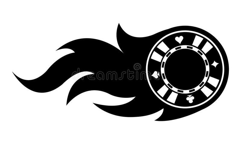 Vector illustration of casino poker chip with flames. royalty free illustration