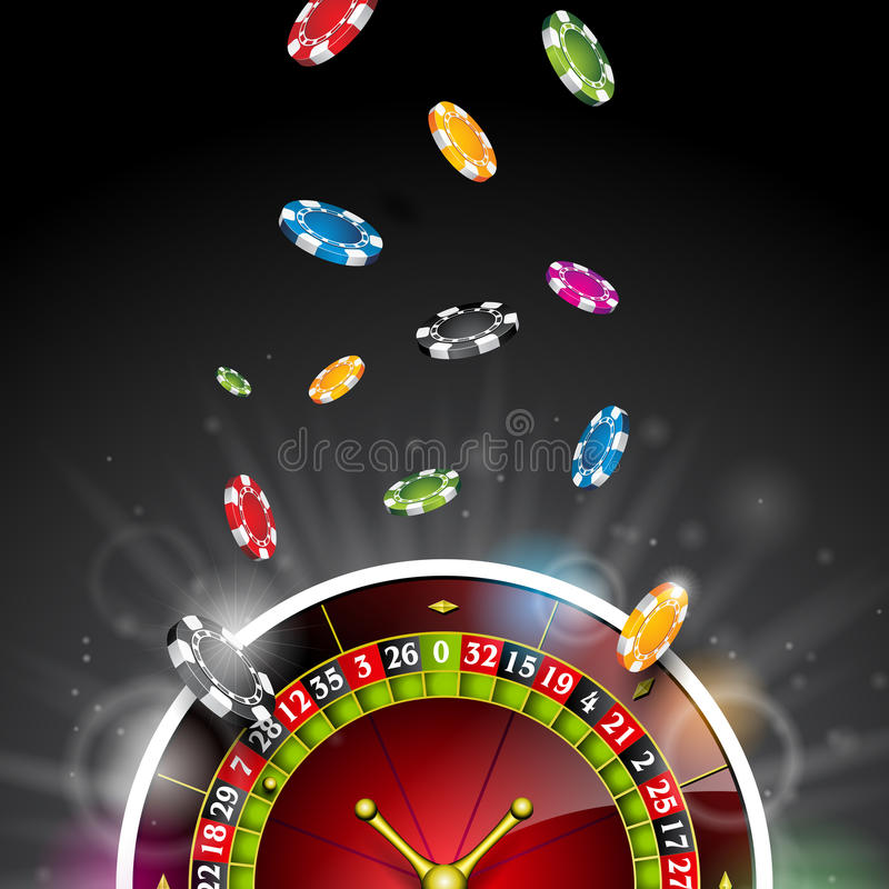 Vector illustration on a casino theme with color playing chips and roulette wheel on black background. Gambling design elements. Vector illustration on a casino royalty free illustration