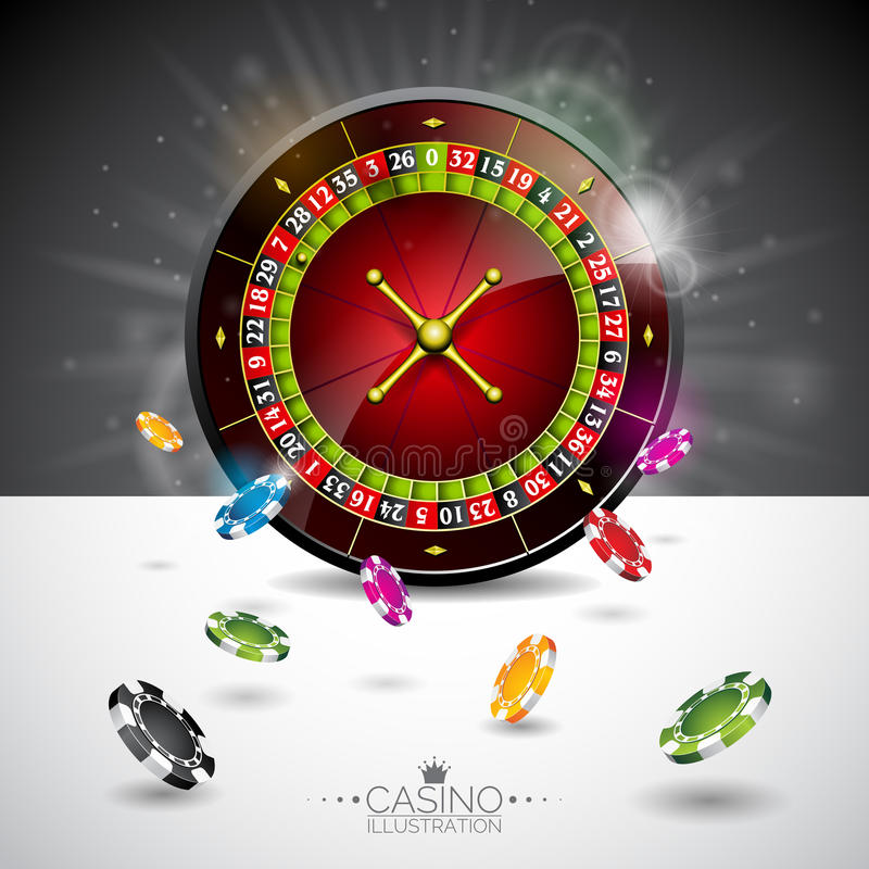 Vector illustration on a casino theme with color playing chips and roulette wheel on black background. Gambling design elements. Vector illustration on a casino stock illustration