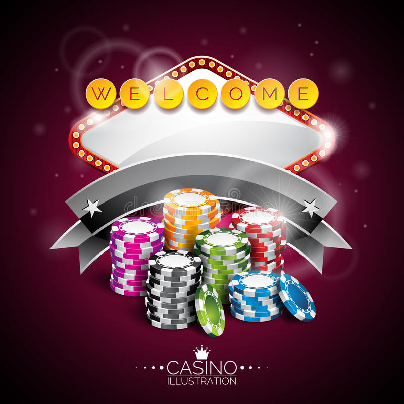 Vector illustration on a casino theme with lighting display and playing chips on purple background.  vector illustration