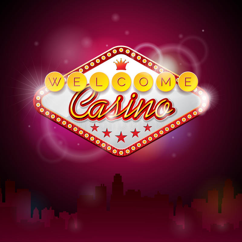 Vector Illustration On A Casino Theme With Lighting ...