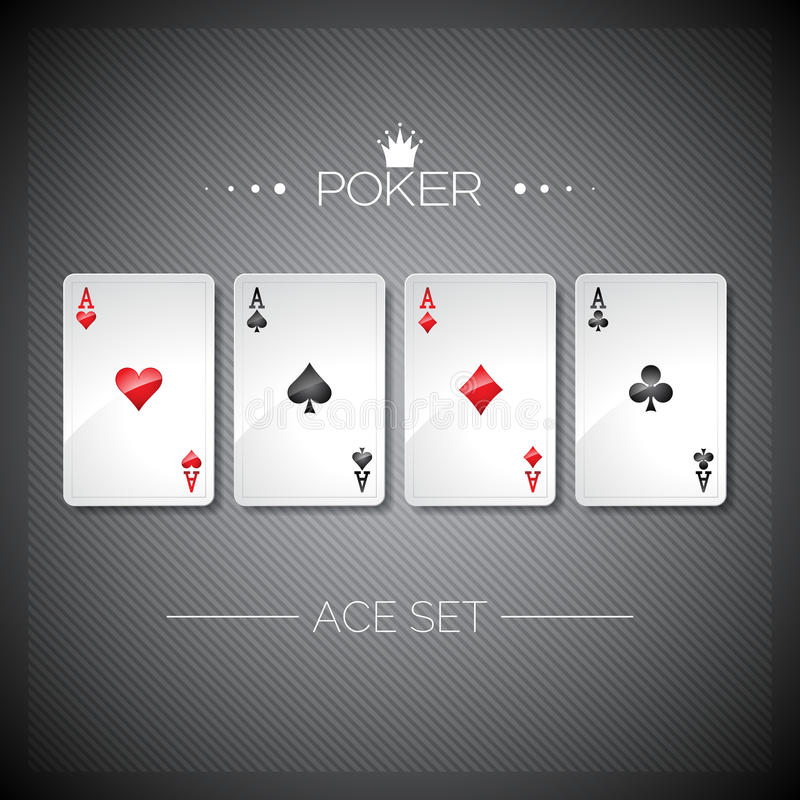Vector illustration on a casino theme with playing poker cards. Poker aces set template vector illustration