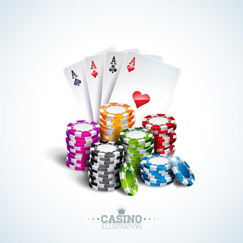Vector illustration on a casino theme with poker cards and playing chips on white background. Gambling design for. Invitation or promo banner vector illustration