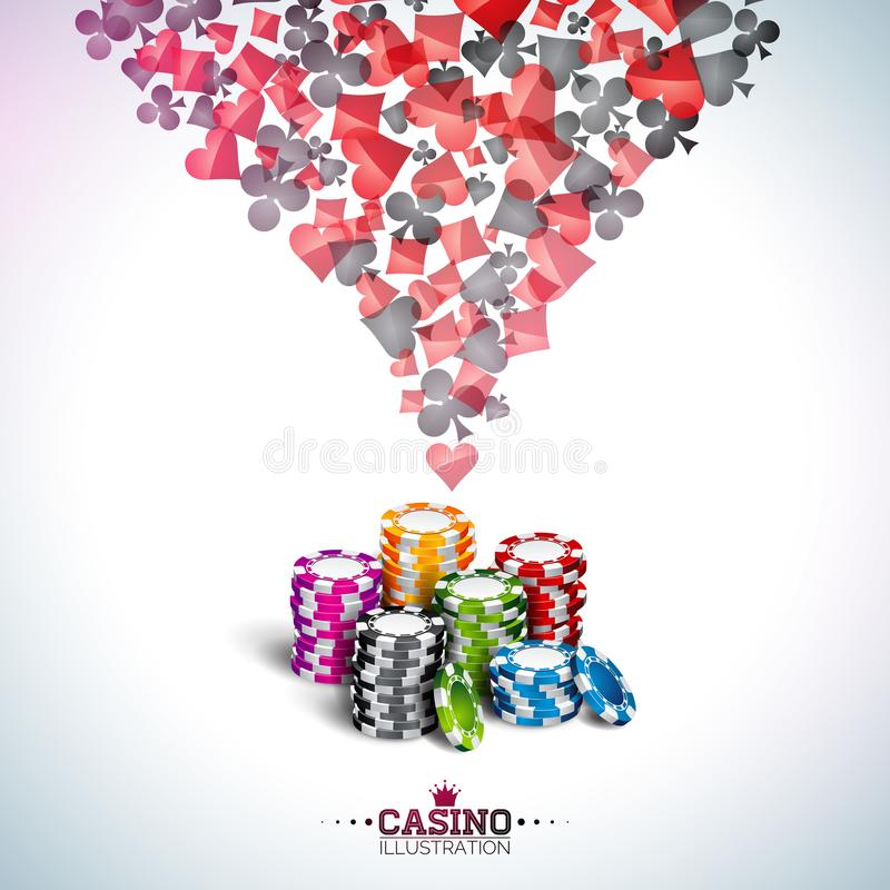 Vector illustration on a casino theme with poker cards and playing chips on white background. Gambling design for. Vector illustration on a casino theme with royalty free illustration