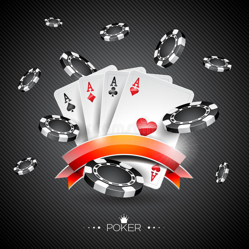 Vector illustration on a casino theme with poker symbols and poker cards on dark background.  stock illustration