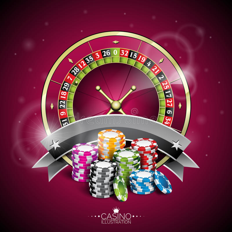 Vector illustration on a casino theme with roulette wheel and playing chips on purple background.  vector illustration
