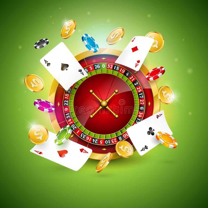 Vector illustration on a casino theme with roulette wheel, poker cards and playing chips on green background. Gambling royalty free illustration