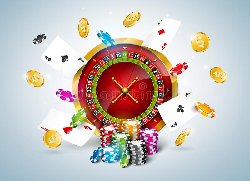 Vector illustration on a casino theme with roulette wheel, poker cards and playing chips on white background. Gambling stock illustration