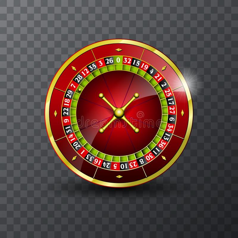 Vector illustration on a casino theme with roulette wheel on transpareent background. Vector illustration on a casino theme with roulette wheel on transpareent royalty free illustration