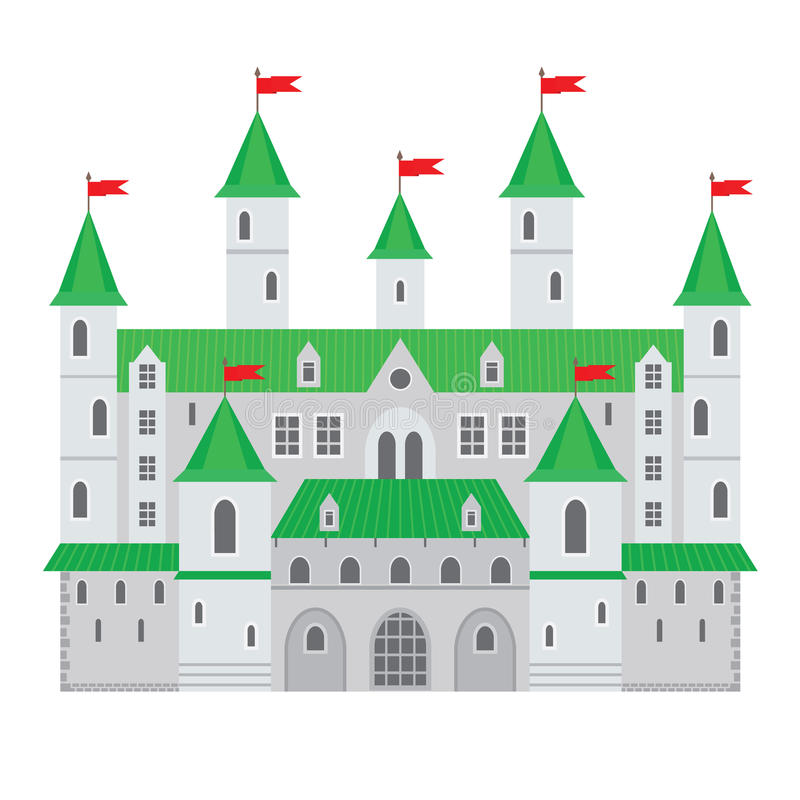 Vector illustration of a castle in flat style. Medieval stone fortress. Abstract fantasy castle can be used in books, game royalty free illustration