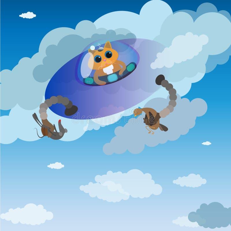 Vector illustration cat alien vector illustration cosmos clouds sky horrorhalloween vector illustration