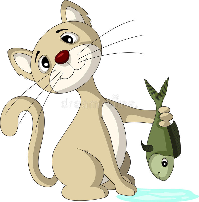 Download Cat and fish stock illustration. Image of fish, domestic - 30297674