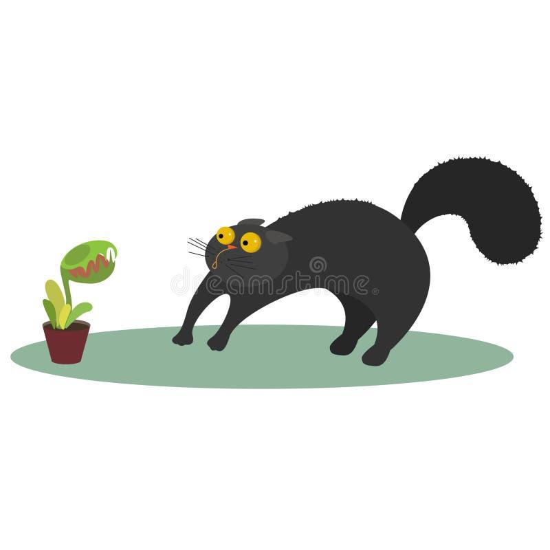 Vector illustration cat and flycatcher royalty free illustration