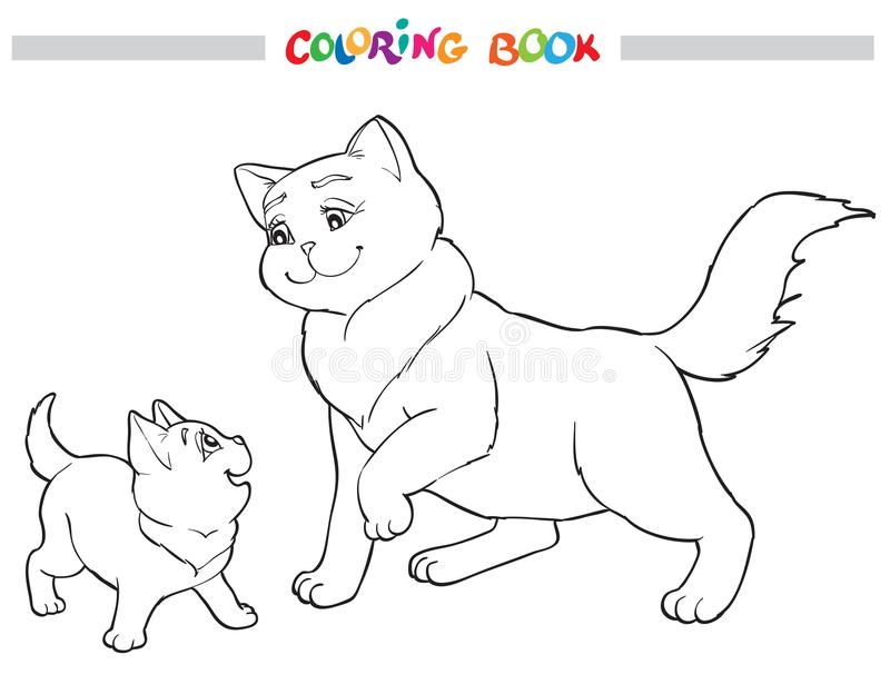 Vector illustration cat mother with kitten. Coloring book vector illustration