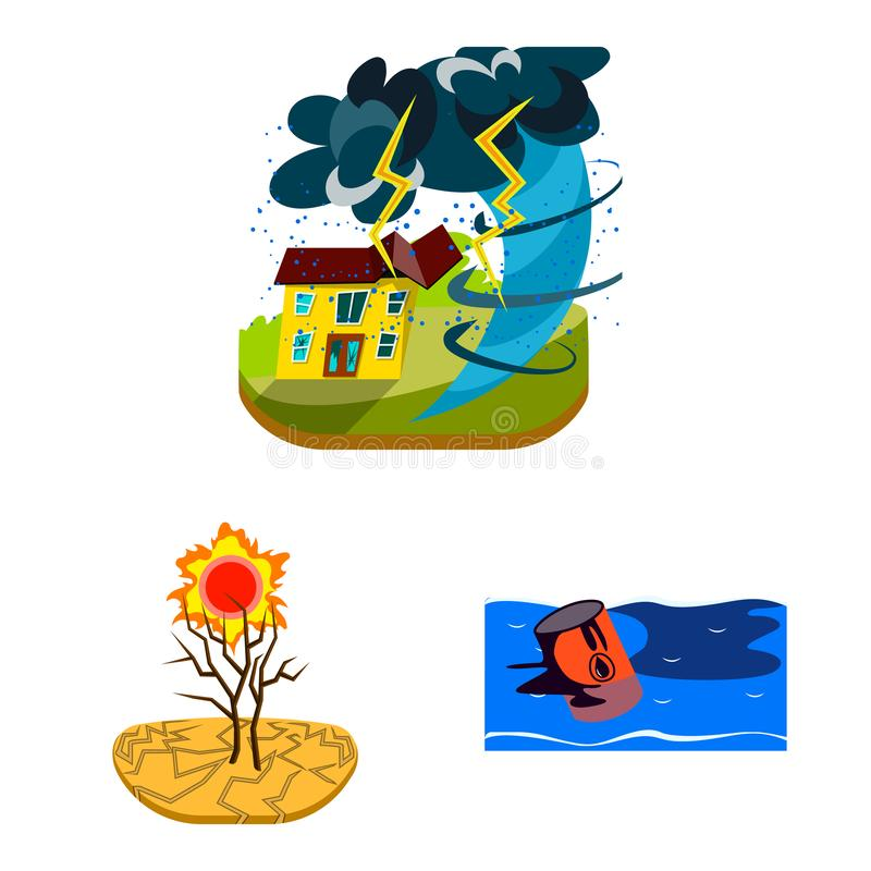 Vector design of cataclysm and disaster icon. Collection of cataclysm and apocalypse vector icon for stock. Vector illustration of cataclysm and disaster symbol vector illustration