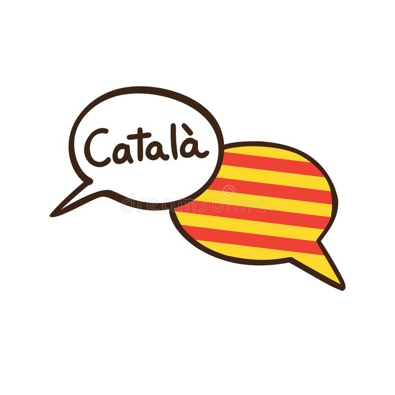 Vector illustration of the Catalan language with two speech bubbles. Vector illustration with two hand drawn doodle speech bubbles with a flag of Catalonia and royalty free illustration