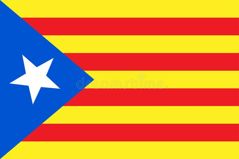 Vector illustration of Catalonia independence flag. Blue estelada. royalty free illustration