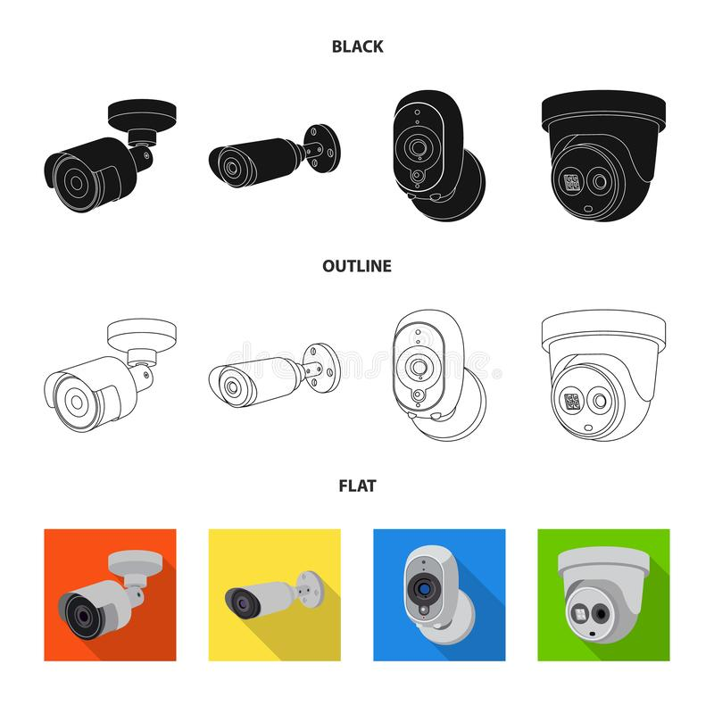 Vector illustration of cctv and camera icon. Set of cctv and system stock vector illustration. Isolated object of cctv and camera symbol. Collection of cctv and royalty free illustration