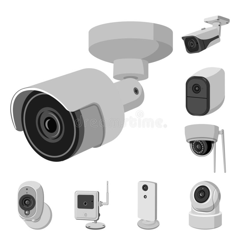 Vector illustration of cctv and camera icon. Set of cctv and system vector icon for stock. Isolated object of cctv and camera symbol. Collection of cctv and royalty free illustration