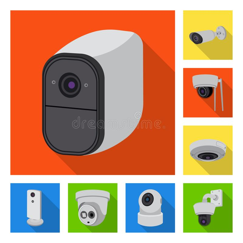 Vector design of cctv and camera icon. Set of cctv and system stock symbol for web. Vector illustration of cctv and camera symbol. Collection of cctv and system vector illustration