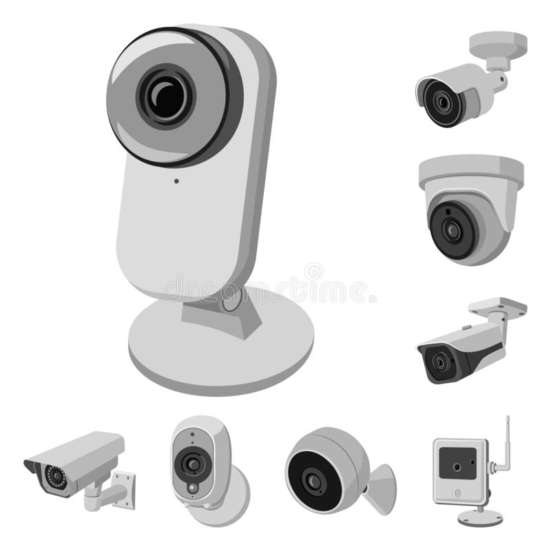 Vector design of cctv and camera icon. Set of cctv and system stock symbol for web. Vector illustration of cctv and camera symbol. Collection of cctv and system royalty free illustration