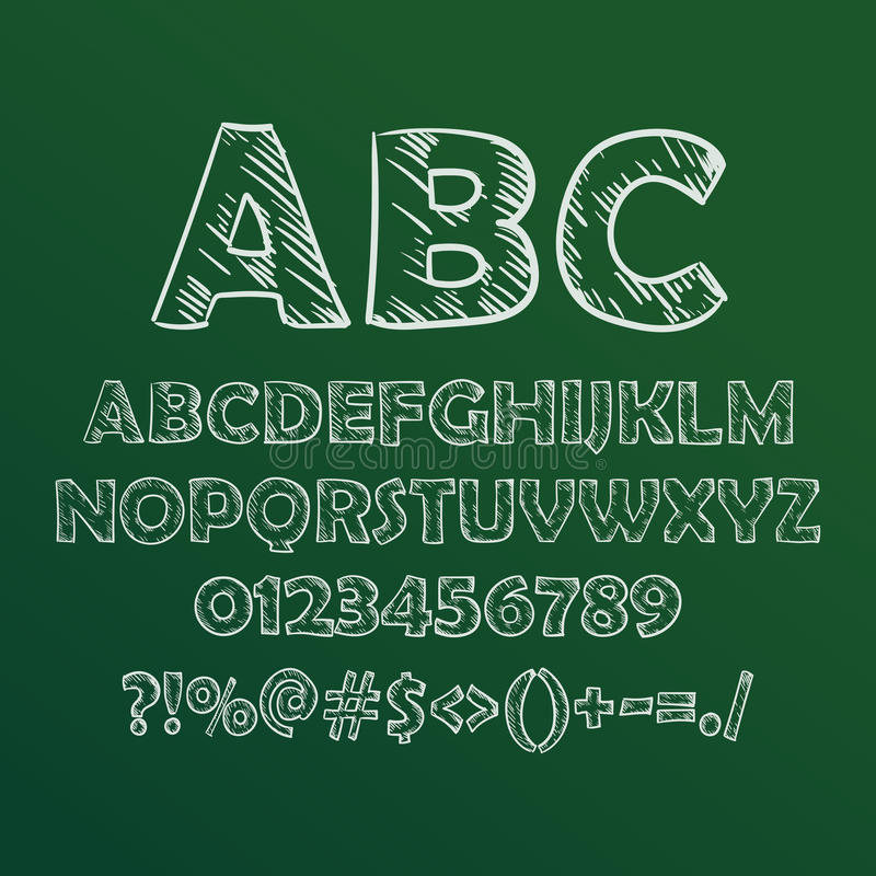Vector illustration of chalk sketched font on blackboard. stock illustration