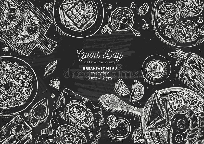 Chalkboard breakfast top view illustration. Various food background. Engraved style illustration. Hero image. Vector illustration royalty free illustration