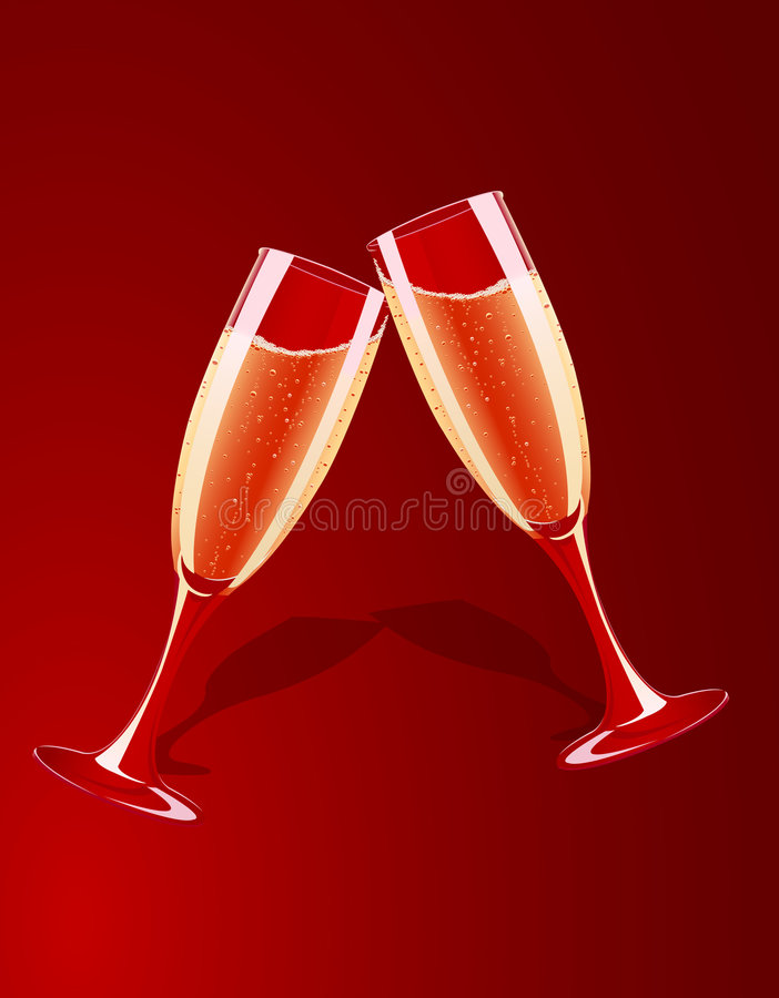 Download Vector Illustration Of Champagne Glasses Splashing Stock Vector - Illustration of glamour, cheers: 6625529