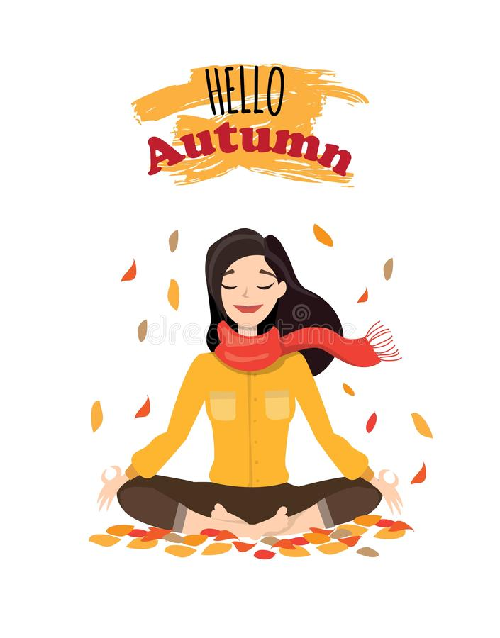 Vector illustration character design beautiful girl with scarf and word hello autumn. Young woman doing yoga in autumn royalty free illustration