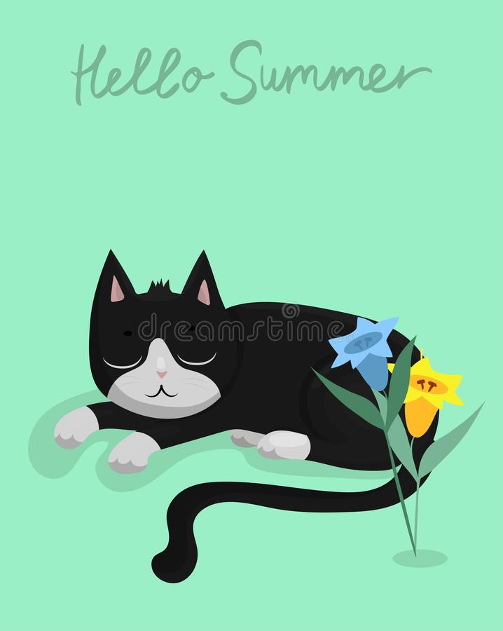Vector illustration character design black cat sleeping on green pastel color vector illustration