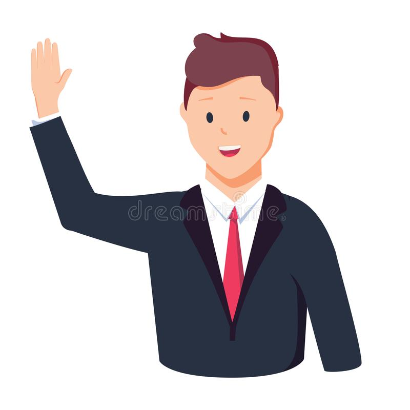 Vector illustration character happy business man greeting say Hi Hello. Cartoon style man in glasses holding hand up. vector illustration