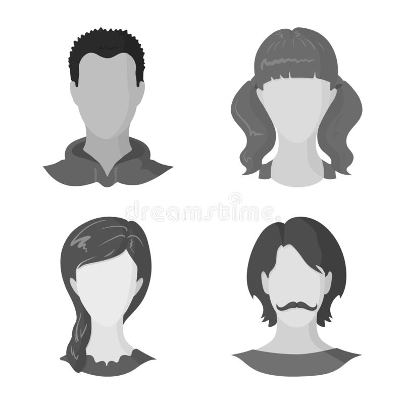 Vector design of character and profile logo. Collection of character and dummy stock symbol for web. Vector illustration of character and profile icon. Set of vector illustration