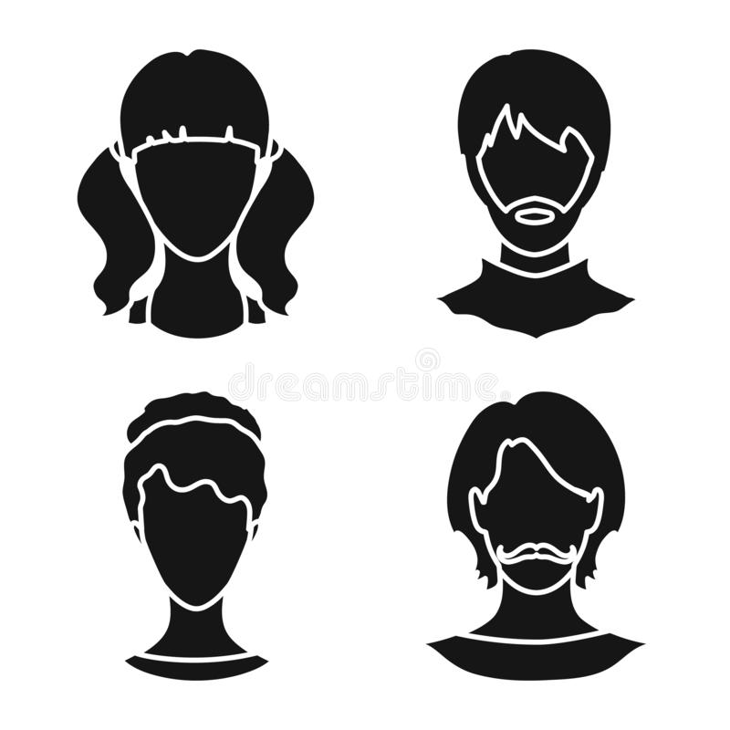 Vector illustration of character and profile logo. Collection of character and dummy vector icon for stock. Isolated object of character and profile icon. Set stock illustration