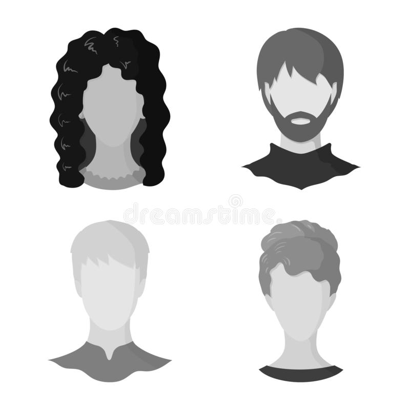 Vector illustration of character and profile sign. Set of character and dummy vector icon for stock. Isolated object of character and profile logo. Collection vector illustration